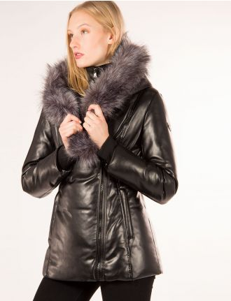 Faux leather coat by Saki