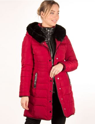 Quilted coat with fooler jacket by Saki