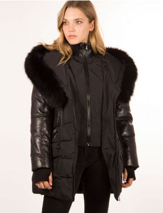 Quilted coat with genuine leather by Sicily
