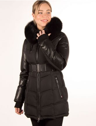 Trendy coat with genuine fur trim by Sicily