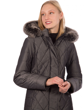 Quilted polyfill coat with genuine fur trim by Styla