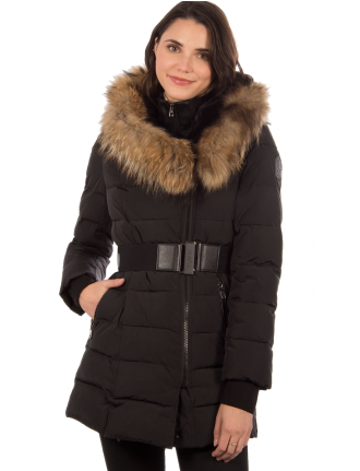Belted coat with real fur trim by Sokos